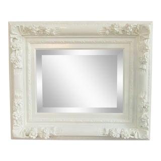 1960s Vintage Refinished Carved Wood Framed Mirror For Sale