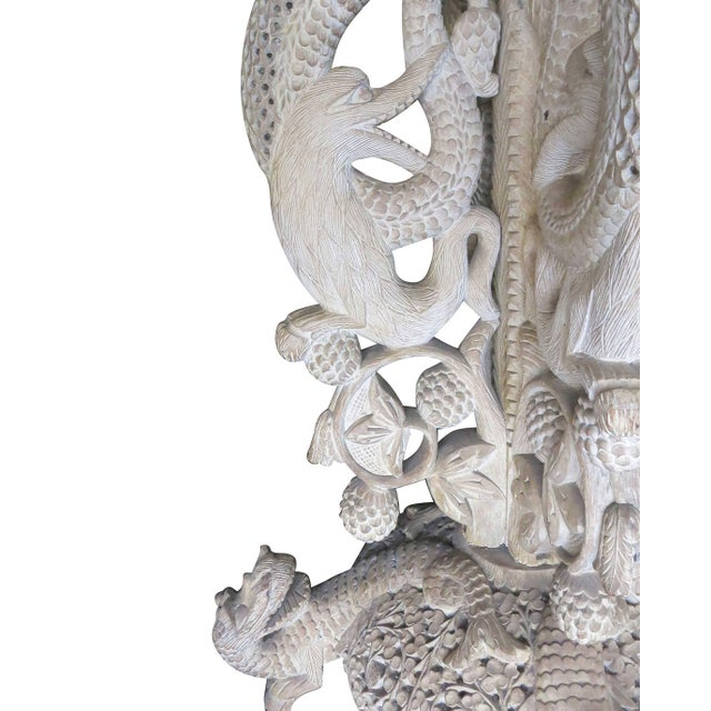 Wood Large Hand-Carved Burmese Dragon Pedestal Planter For Sale - Image 7 of 10