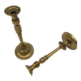 French Hand Tooled Brass Candlesticks - a Pair For Sale