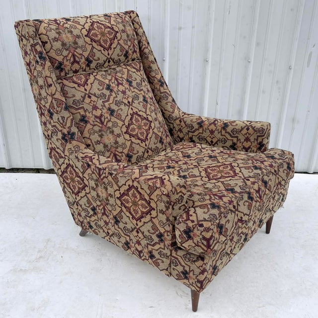 Textile Mid-Century Modern Lounge Chair With Ottoman For Sale - Image 7 of 13