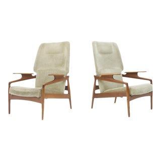 Pair of Reclining Teak Lounge Chairs by John Boné, Denmark 1960s For Sale