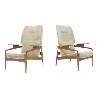 Pair of Reclining Teak Lounge Chairs by John Boné, Denmark 1960s For Sale