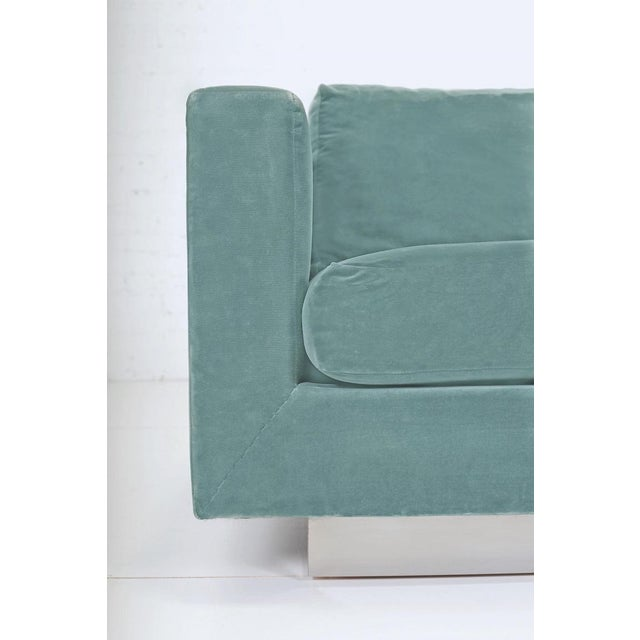 Tuxedo sofa by Edward Wormley for Dunbar. Original blue/green cotton velvet is in great shape, as is the chrome base....