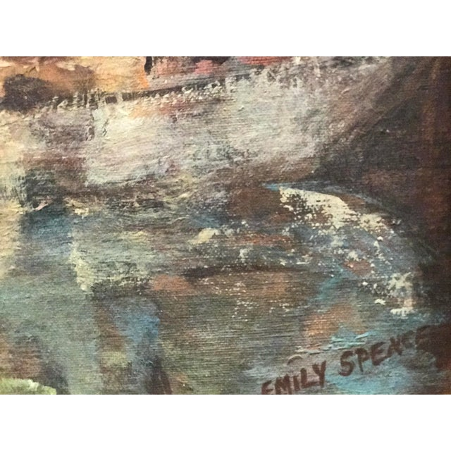 Mid Century Acrylic Painting of a Boat Scene by Emily Spencer For Sale - Image 4 of 6