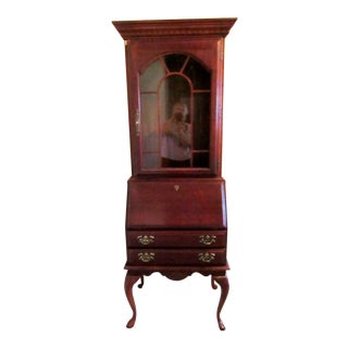 20th Century Vintage American Drew Cherry Queen Anne Style Secretary Desk For Sale