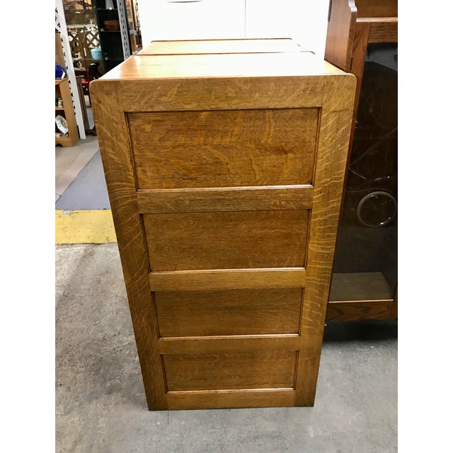 Early 20th Century Antique Library Bureau Sole Makers Tiger Oak Double Filing Cabinet For Sale - Image 5 of 8