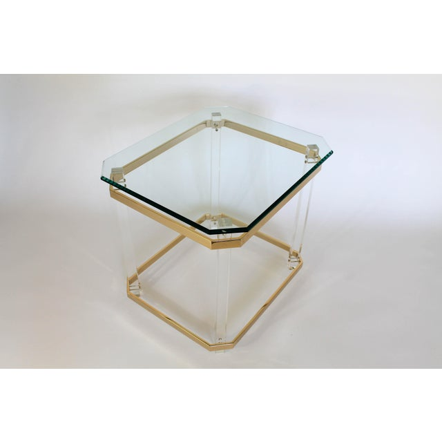Lucite & Brass Side Table For Sale - Image 11 of 11