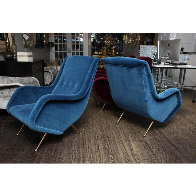 Pair of Parisi Vintage Italian Club Chairs Upholstered in Teal Blue Velvet For Sale - Image 9 of 9