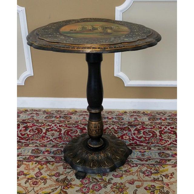 Antique English Victorian Papier Mache Tilt Top Table