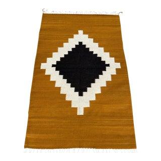 Geometric Tribal Flat-Weave Rug- 3′ × 5′ For Sale