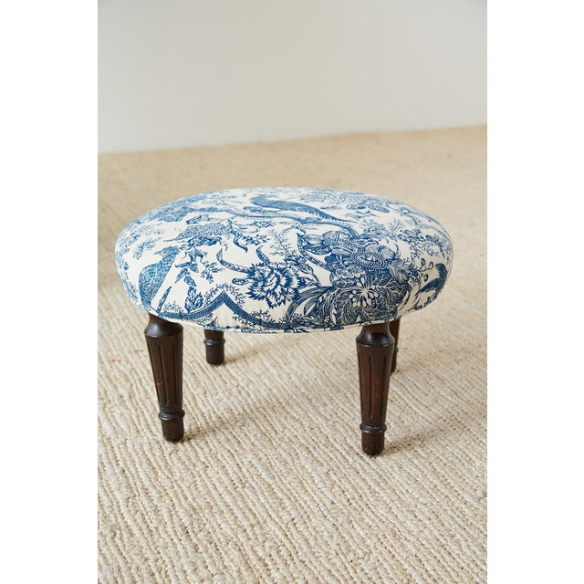 Chinoiserie Upholstered Queen Anne Wingback With Ottoman For Sale - Image 10 of 13