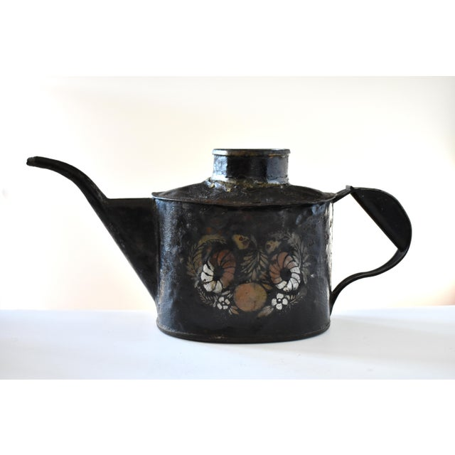 Early 19th Century Antique 1830s Americana Painted Gold and Silver Tole Watering Pot For Sale - Image 5 of 12