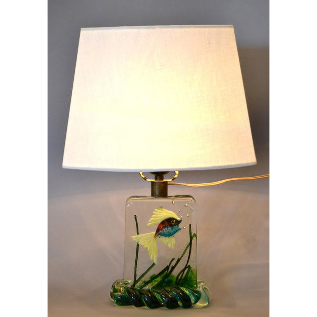 Gino Cenedese Murano Glass Table Lamp & Shade With Fish and Seaweed, Italy 1950 For Sale - Image 13 of 13