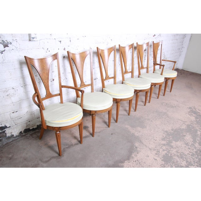 Romweber Mid-Century Modern Cherry and Burl Wood Dining Set, 1960s - Set of 7 For Sale - Image 12 of 13