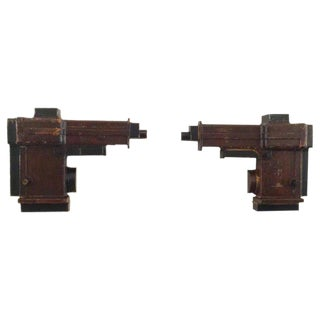 20th Century Industrial Wooden Foundry Molds, Pair