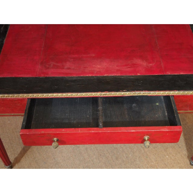 Black Vintage French Leather Writing Desk For Sale - Image 8 of 10