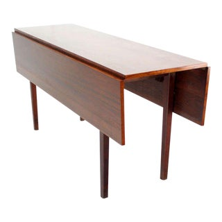 Danish Mid-Century Modern Walnut Drop-Leaf Dining or Console Table For Sale