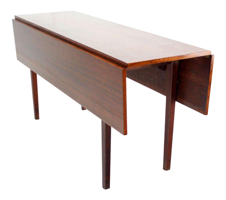 Danish Mid Century Modern Walnut Drop Leaf Dining Or Console Table For Sale