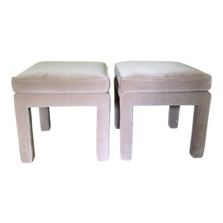 Soft Pink Velvet Upholstered Parsons Benches Ottomans - a Pair For Sale