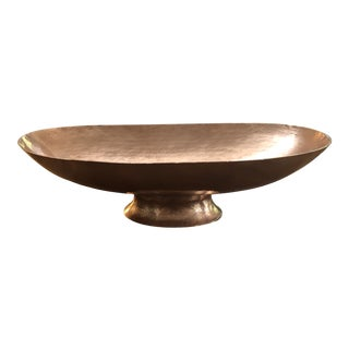 Vintage Hammered Copper Oval Pedestal Bowl For Sale