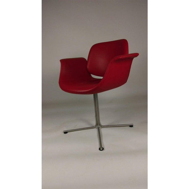 Modern Foersom & Hjorth-Lorenzen Red Leather Flamingo Armchair For Sale - Image 3 of 8