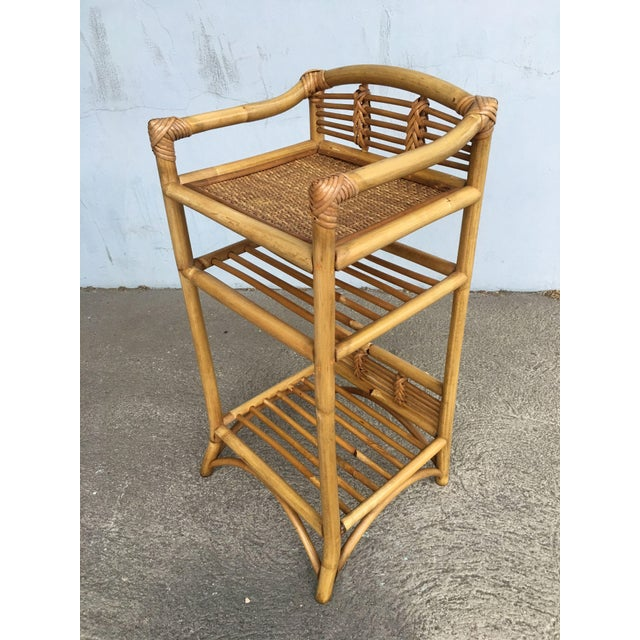 Boho Chic Restored Mid-Century Rattan Three-Tier Book/Magazine Shelf For Sale - Image 3 of 7