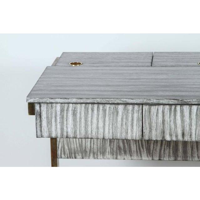 Metal Paul Marra Writing, File Desk in Gray Zebra Finish For Sale - Image 7 of 10