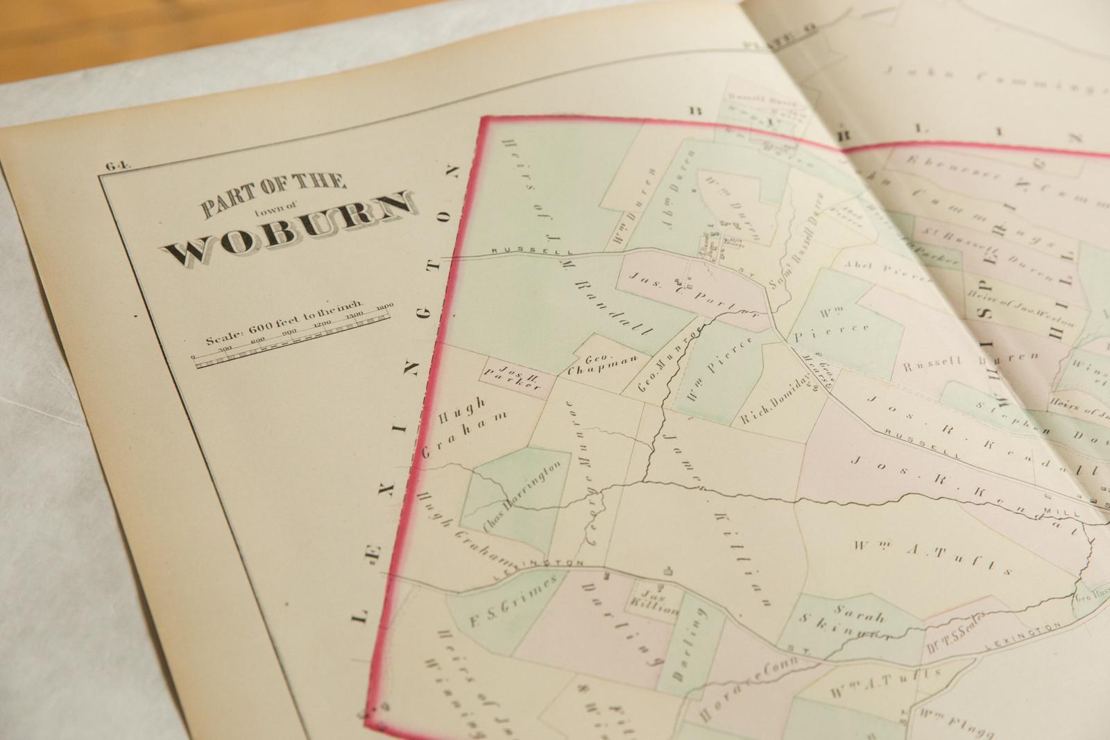 Antique Woburn Massachusetts Atlas Map Plate O