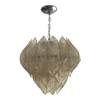 Large Folded Acrylic Lucite Clear Hard Wired Chandelier in the Style of Kalmar For Sale