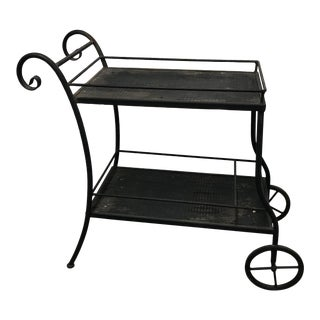 1990s Restoration Hardware Wrought Iron Serving Bar Cart For Sale