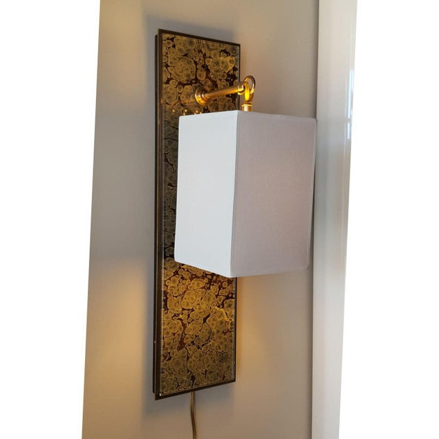 Modern Brass and Marbleized Wall Sconce V2 by Paul Marra For Sale - Image 13 of 13