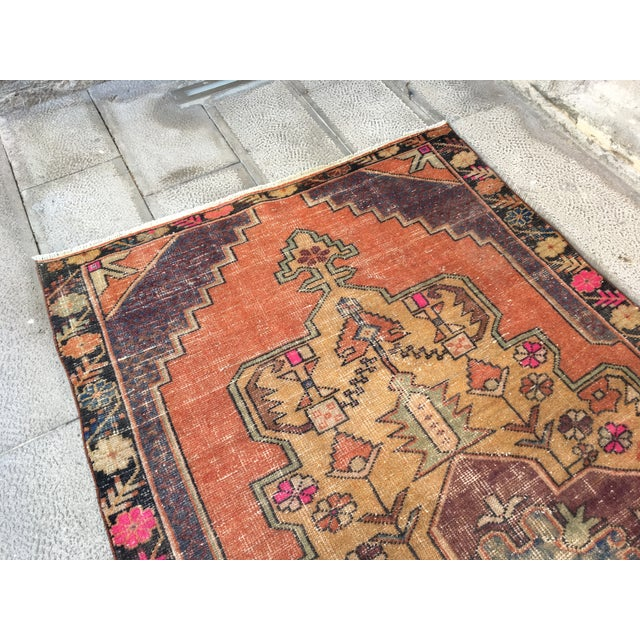 Turkish 1970s Vintage Turkish Anatolian Hand-knotted Oushak Rug- 4′3″ × 8′ For Sale - Image 3 of 9