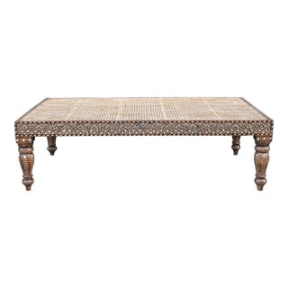 Elegant Anglo-Indian Bone Inlaid Cane Ottoman For Sale