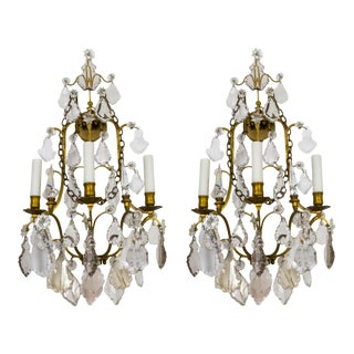 Late 19th Century Multi Crystal & Brass 3-Light Sconces W/ Chain - a Pair For Sale