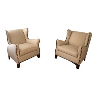 Modern Beige Studded Wingback Accent Chairs - a Pair For Sale