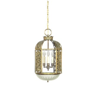 Restored Art Deco Brass and Glass Lantern With Flowers For Sale