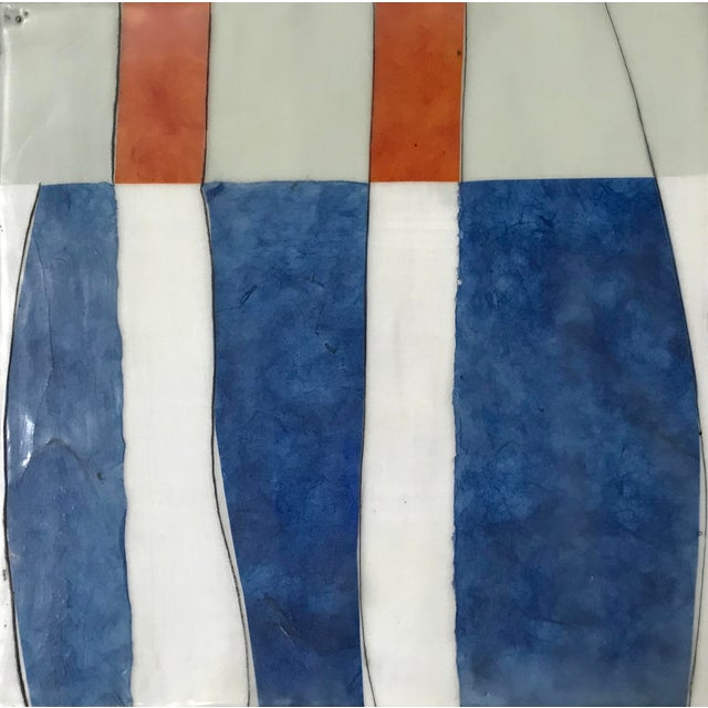 "2010s Gina Cochran ""Perceptions No. 30"" Encaustic Collage Painting - Indigo & Orange For Sale - Image 5 of 7"