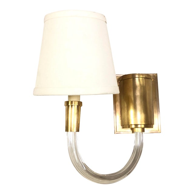 Visual Comfort Vivian Single Wall Sconce in Antique Brass For Sale
