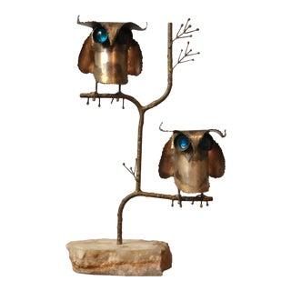 Brutalist Style Curtis Jere Owl Sculpture For Sale