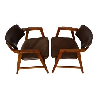 Walnut Gunlocke Chairs - A Pair