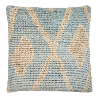 """Modern Blue and Taupe Wool Pillow - 22x22"""" For Sale"""