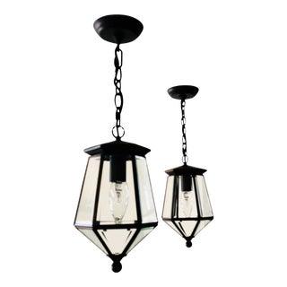 Small Antique Bronze Lantern Pendants - a Pair