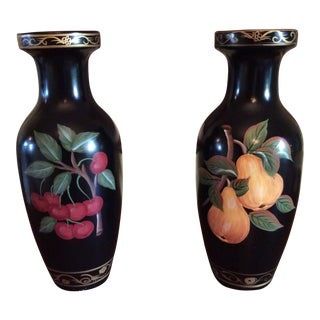 Mid Century Art Deco Hitchcock Inspired Tole Painted Vases - a Pair For Sale