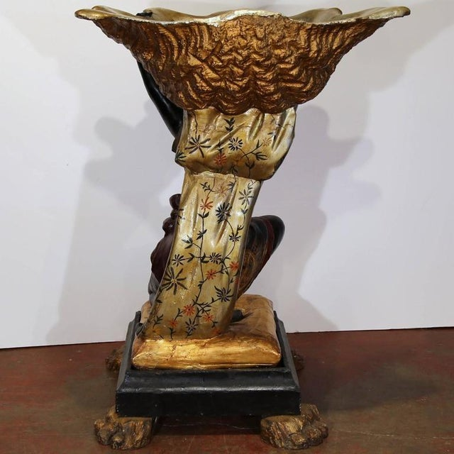 19th Century Italian Carved Polychrome Blackamoor Sculpture With Jardiniere For Sale - Image 9 of 10