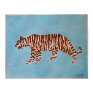Chinoiserie Tiger on Sky Blue by Cleo Plowden For Sale