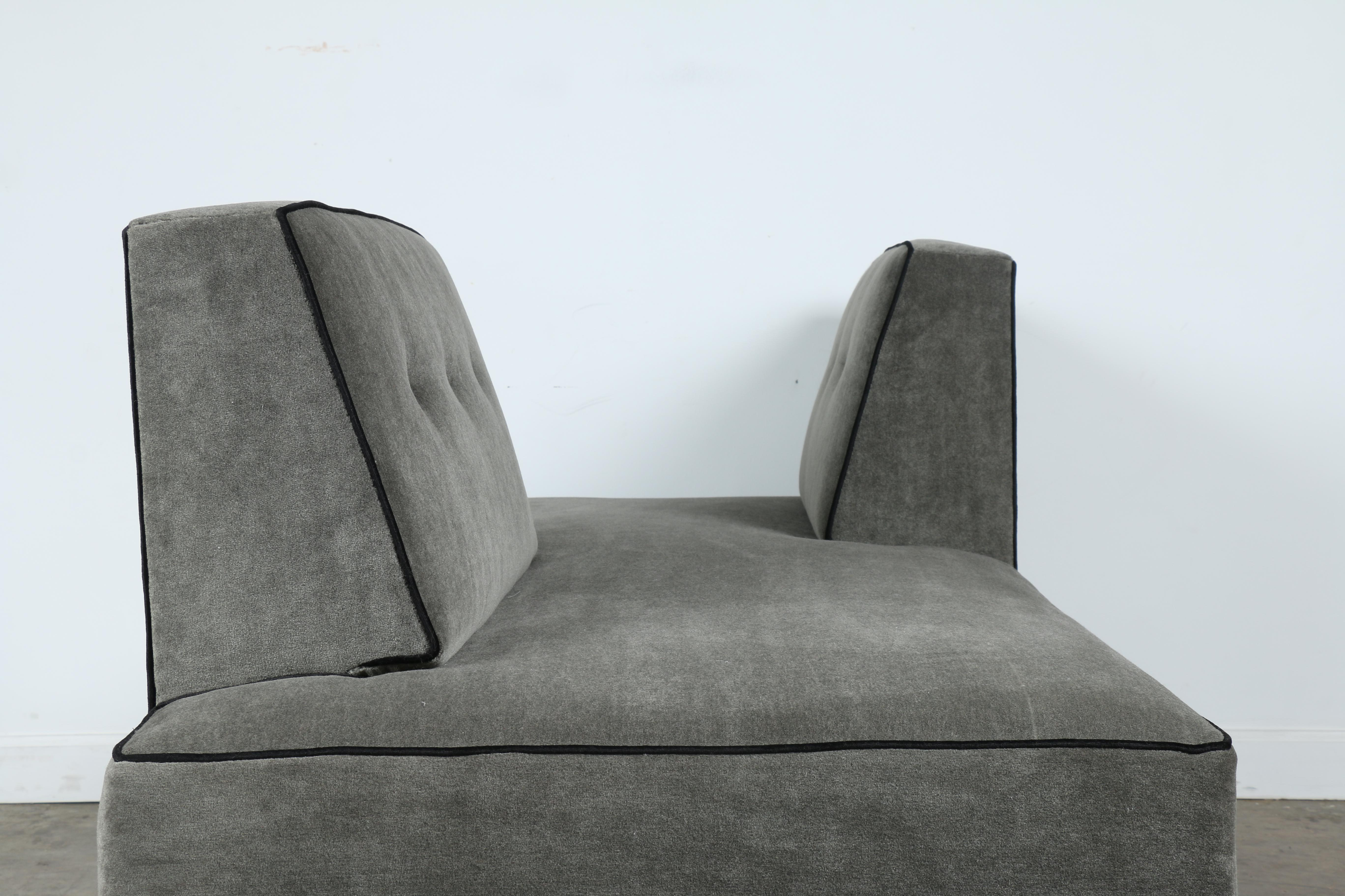 Etonnant Modern Mohair Double Sided Sofa For Sale   Image 10 Of 11