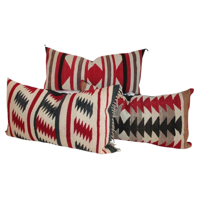 Navajo Saddle Blanket Bolster Pillows - Collection of 3 For Sale