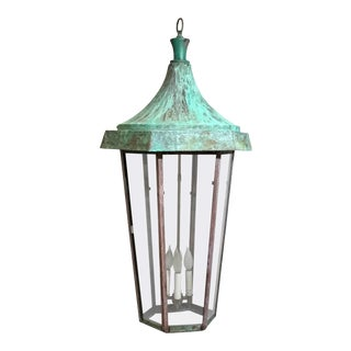 1950s Large Hanging Copper Lantern For Sale
