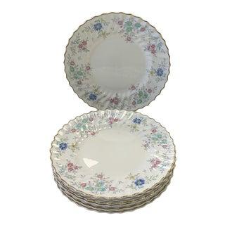 1950s Vintage Royal Doulton Pastoral Porcelain Dinner Plates - Set of 8 For Sale