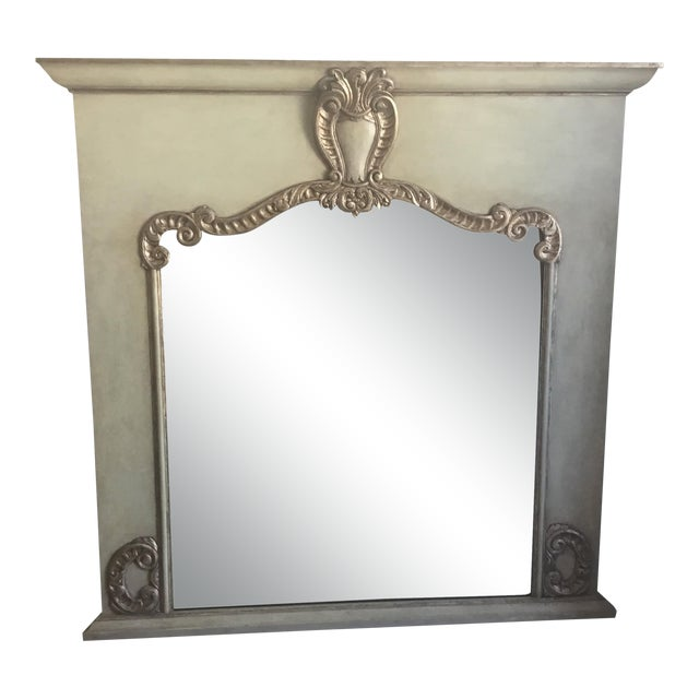 Contemporary Antiqued Silver Fireplace Mirror For Sale